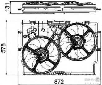 Вентиляторы радиатора в сборе с диффузором Fiat Ducato New(250) 2.3JTD (-A/C)