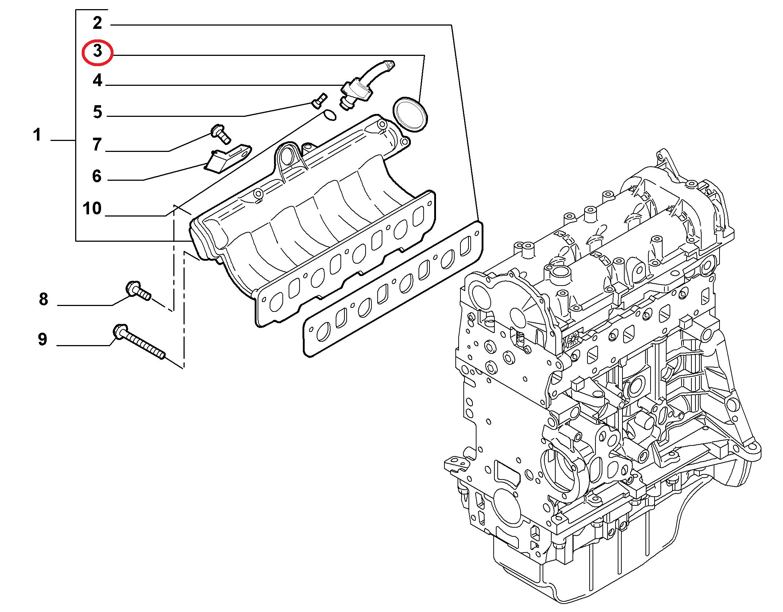 Прокладка впускного коллектора Fiat Doblo 1.3 MJTD