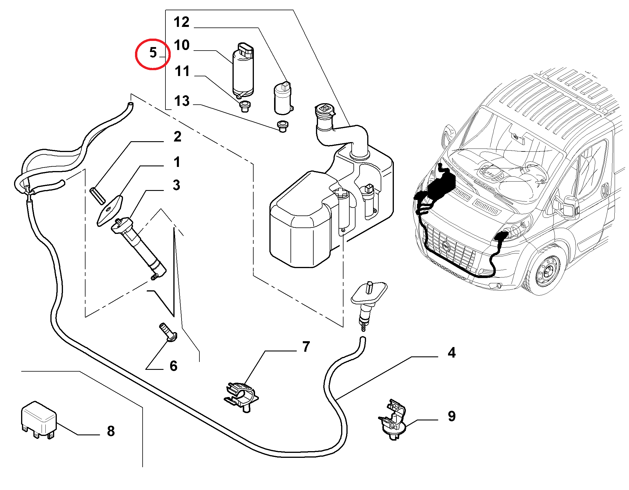 Бачок омывателя лобового стекла Fiat Ducato New(250) (+омыватель фар).
