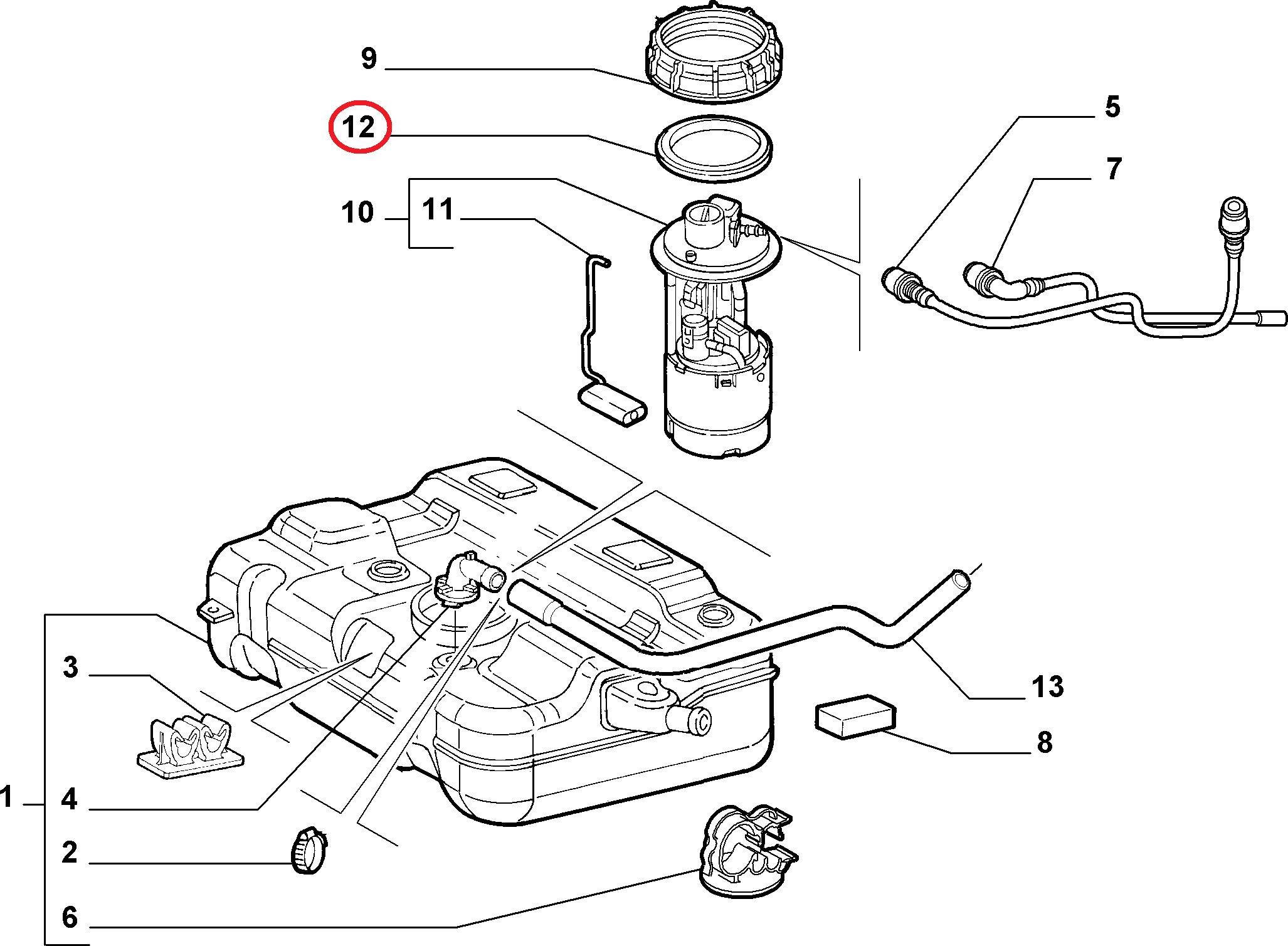 Прокладка крышки бензонасоса Fiat Doblo 1.4MPI 8V