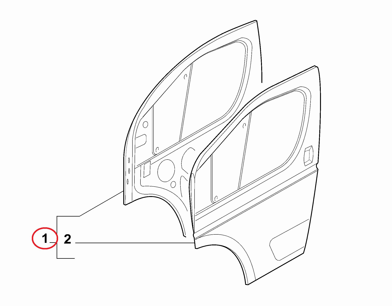 Дверь передняя левая Fiat Ducato (250). (легкая нагрузка)