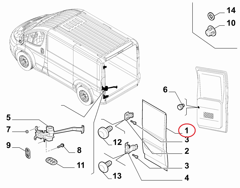Дверь задняя распашная левая (H1 1662мм) Ducato(250)