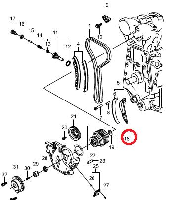 Механизм регулировки фаз ГРМ SsangYong E23 (бензин) Kyron, Actyon