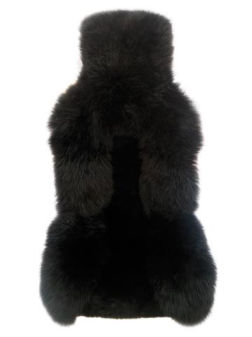 Накидка из натуральной овчины на переднее сиденье iSky SHEEPSKIN, мех стриж. в центре, длинный по краям, с подкладом, 1 шт.,черн.