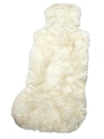 Накидка из натуральной овчины на переднее сиденье длинный мех iSky SHEEPSKIN,с подкладом, 1 шт.,белая